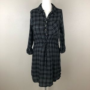 Just Fab Plaid Checkered Roll Tab Sleeve Dress
